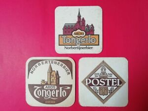 3 oude bierviltjes  TONGERLO - POSTEL                   //