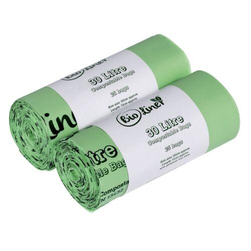 50 sacs 30 L bioliner compostable bordure du trottoir Caddy Sacs poubelles Large Roll