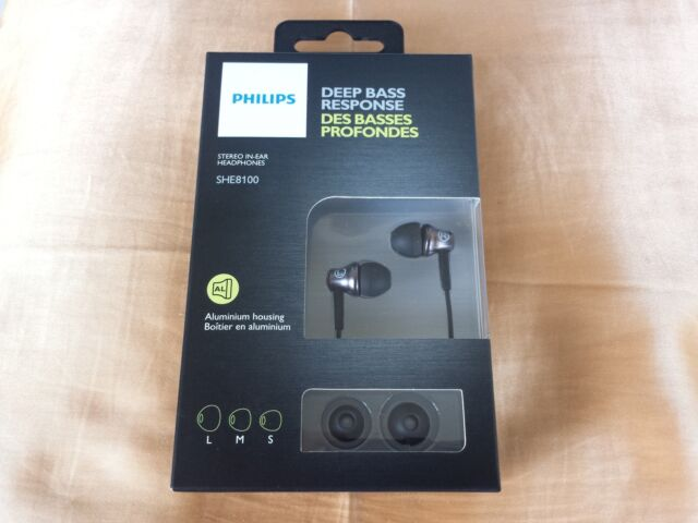 Phillips SHE8100; IN-EAR HEADPHONES; DEEP BASS RESPONSE; NEW!