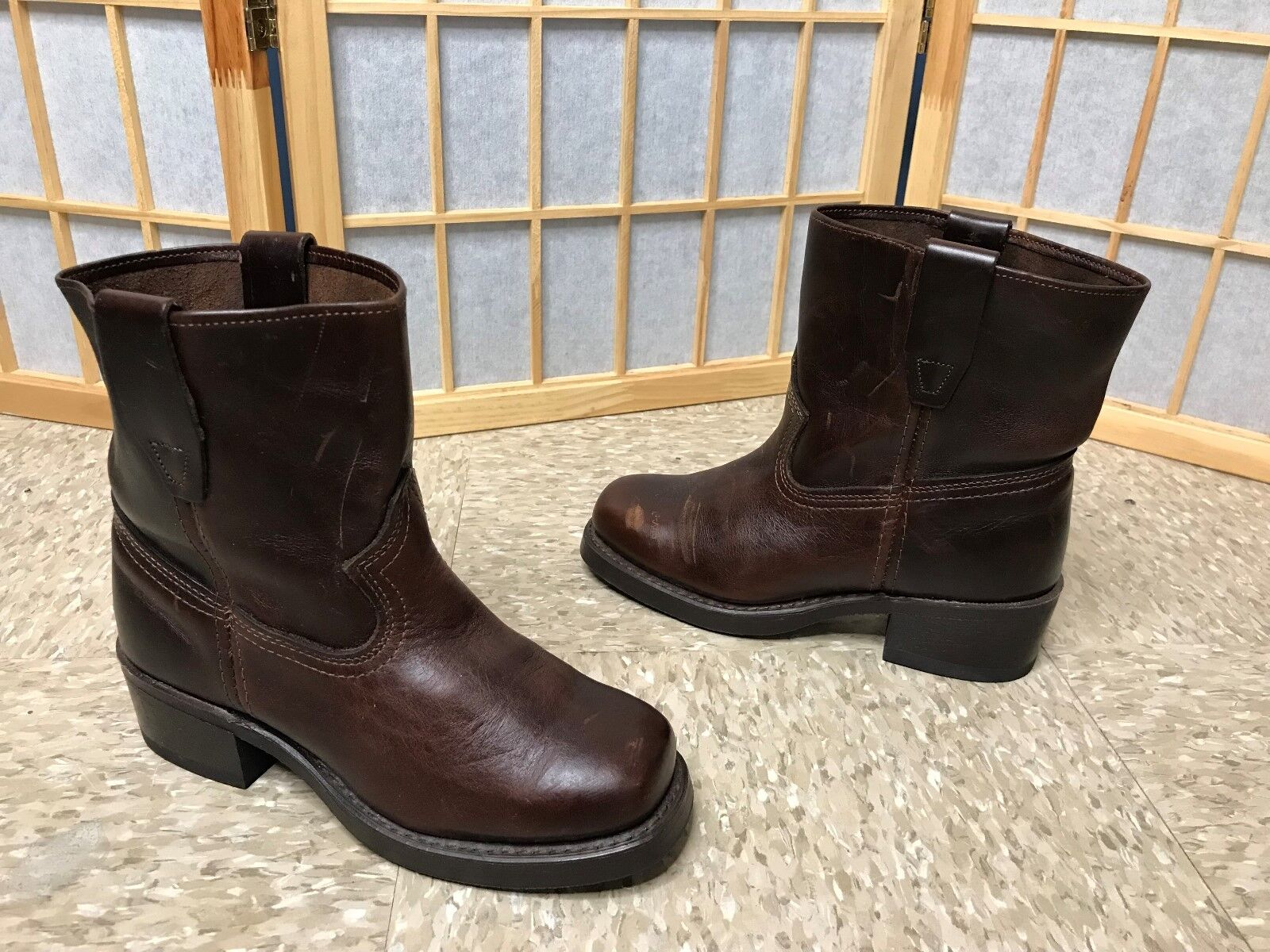 DURANGO BROWN GOODYEAR WELT MADE IN USA ANKLE BOOTS WOMENS LEATHER PULL-ON SZ 5