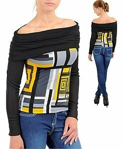 S M L Multi Colored Stretchy Blouse P33 Black//Yellow