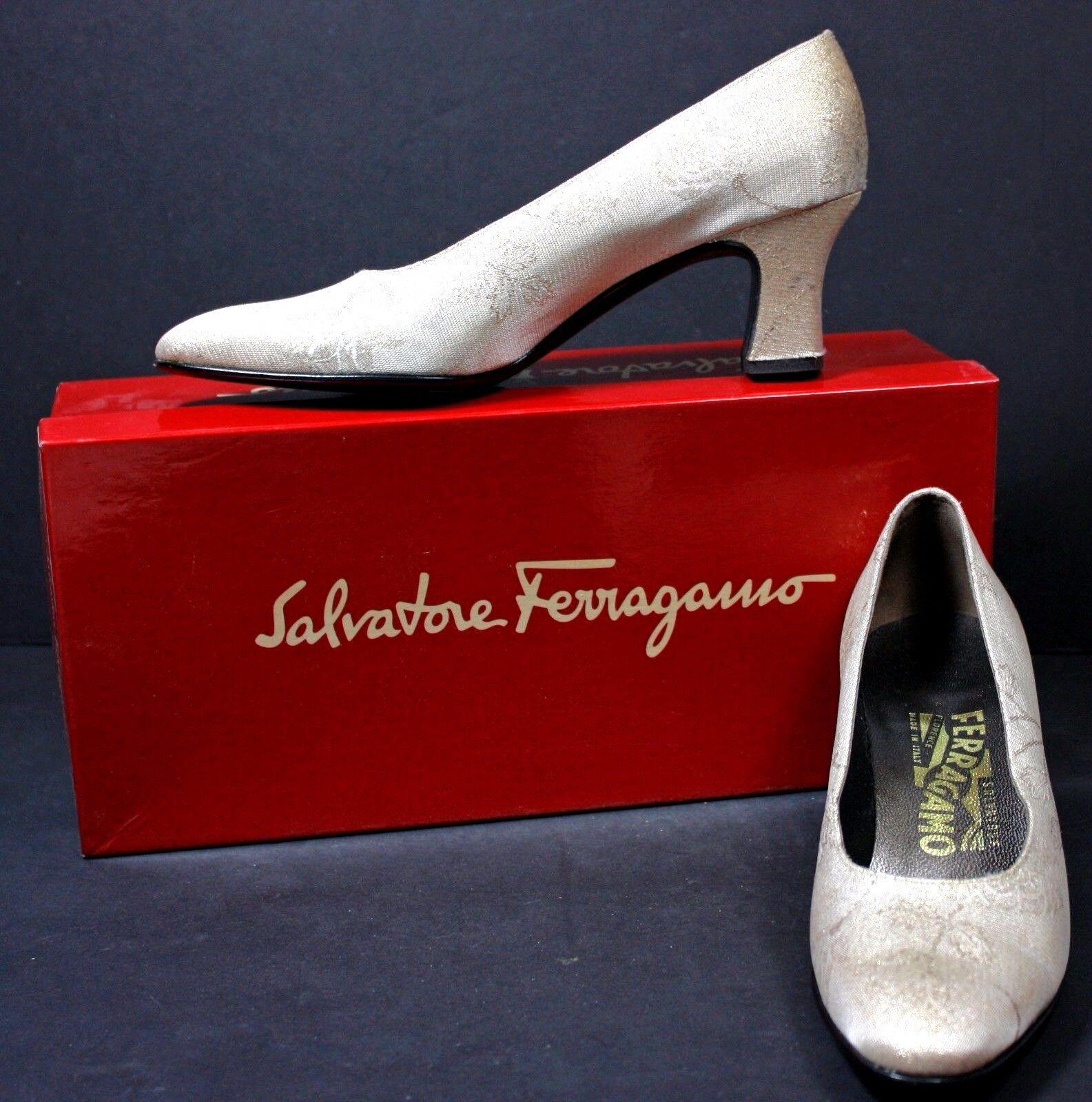 Salvatore Ferragamo Damenschuhe Pumps sz 6 B Gold Fabric Evening/Wedding w/ box