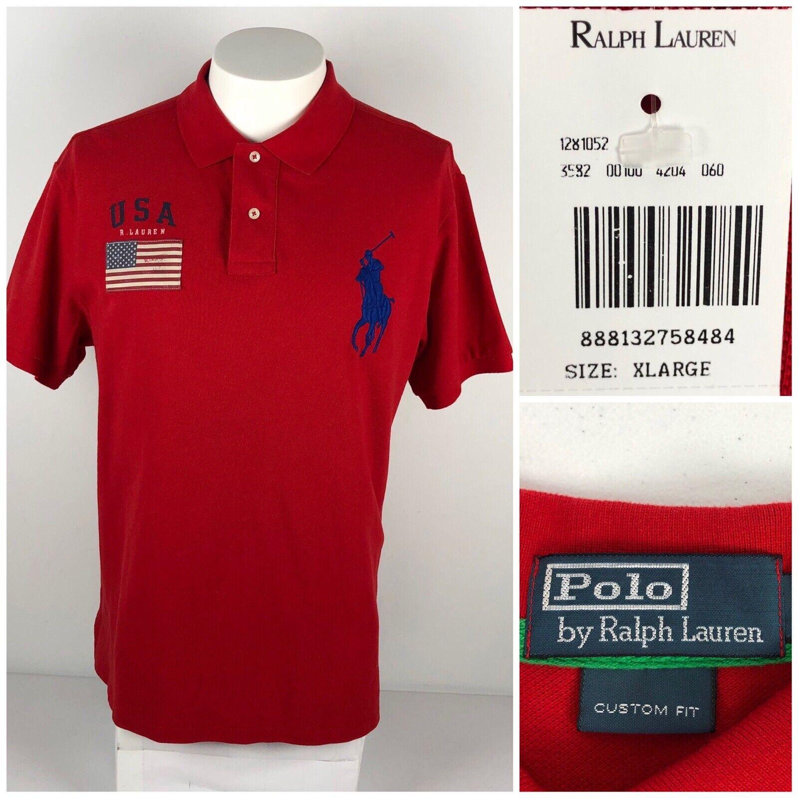 Polo Ralph Lauren Mens XL Polo Shirt USA Flag Red 100% Cotton Big Logo  NWT