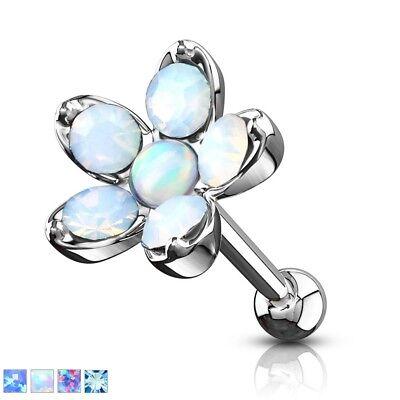 OPALITE FLOWER Studs TRAGUS CARTILAGE Bar Helix Conch EAR Rings Piercing Jewelry