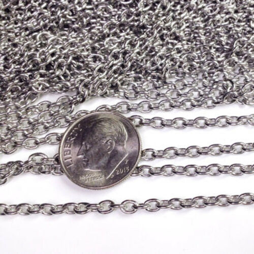 1.5-3mm Women Silver Stainless Steel O Link Weld Chain by Meters Jewelry Finding
