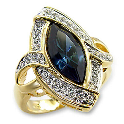 Bague luxe plaqué or 18k femme mode chic moderne jonc serti zirconium saphir