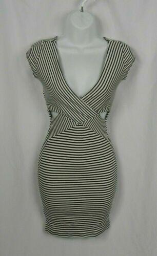 Nouveau Noir Perle Noir /& Blanc à Rayures Col V Cut Out robe D1-29