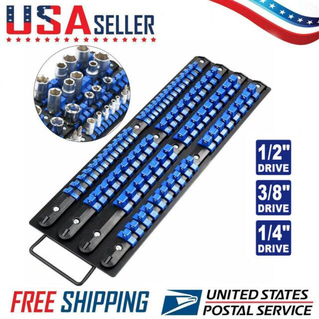 Universal Socket Holders in Organizer Tray Metal Rail 80-Piece Set