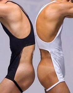 Men's One-Piece Leotard Tank Top Boxer Briefs Backless Open Crotch Underwear