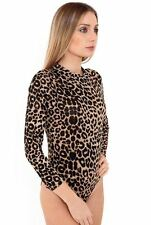 Ladies New Style Polo Turtle Neck Plain Printed Bodysuit Long Sleeve Leotard Top