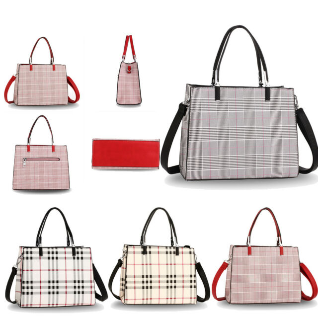 Ladies Medium Designer Bessie Faux Leather Structured Tote Shoulder Bag Handbag