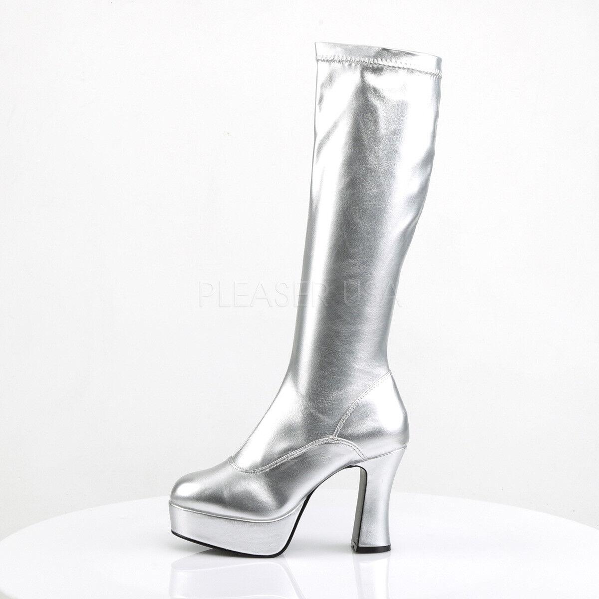 White White White Platform 60s Mod 70s Hippie Knee High Mens Drag Queen GoGo Boots 12 13 14 64ff99