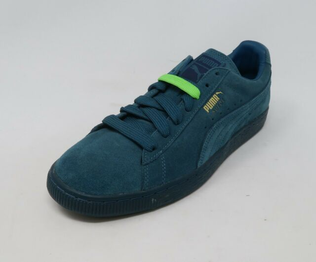 new style 5dcfc bb24e Puma Men Shoes Classic Suede Blue Gold Mono Sneakers #2832