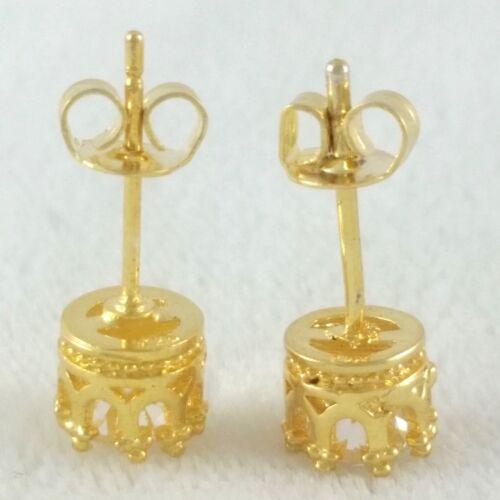 Véritable 14k Or Argent Sterling .925 Coupe de Princesse Ronde Diamant Clous d/'oreilles 6 mm