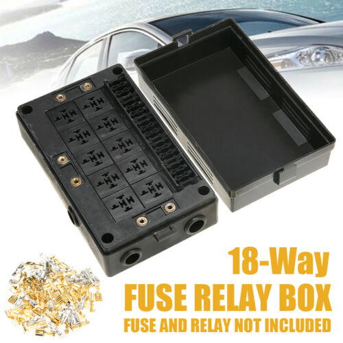 Automotive 18 Way Fuse Relay Box Holder Block Circuit Protector Terminals