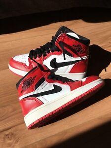NIKE Air Jordan 1 Chicago High Red White Black Bred size 12C Child ... 82680d6f3