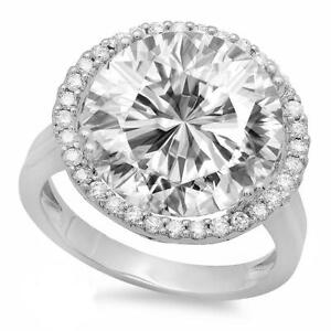 Details about 7 90 CARAT (12MM) ROUND SUPERNOVA MOISSANITE & DIAMOND HALO  RING 18K WHITE GOLD