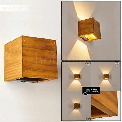 LED Holz Wand Lampe dimmbar Wohn Zimmer Beleuchtung Up Down Strahler Leuchte