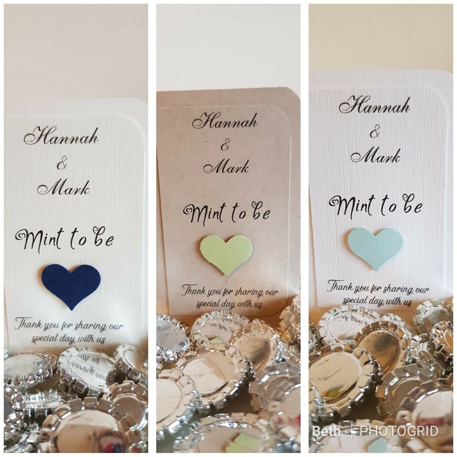 10-100 Handmade Personalised Wedding Favour Tic Tac Holder Sleeve Mint to be