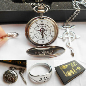 Fullmetal-Metal-Alchemist-Cosplay-Pocket-Watch-Necklace-Ring-Set-With-Box