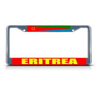 Eritrea Flag Metal License Plate Frame Tag Border Two Holes