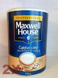 2-X-Maxwell-House-Coffee-instantaneo-Capuchino-750g-grandes-Tin-libre-UK-FRANQUEO