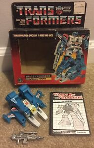 Vintage G1 Transformers Topspin Complete With Box Takara Hasbro 1984 Japan Nice!