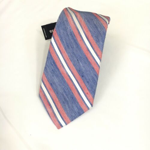 "Express Mens Slim Skinny Silk Linen Blend Multi Color Striped Neck Tie 2.5"" NWT"