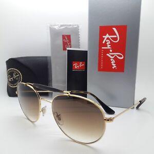 NEW-Rayban-Sunglasses-RB3540-001-51-56-Double-Bridge-Gold-Brown-Gradient-GENUINE