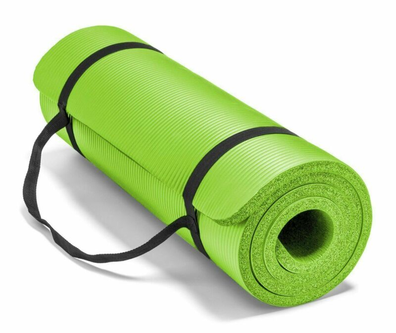 Yoga Mats 0.375 inch (10mm) Thick Exercise Gym Mat Non Slip With Carry Straps