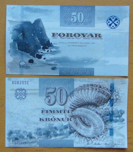 Faeroe Islands Paper Money 50 Faeroe Krone UNC