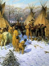 Tom Lovell INVITATION TO TRADE art print, Native American, Fur Traders