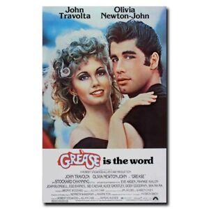 "Grease Movie Silk Poster 27/""x40/"" 1978 John Travolta Olivia Newton John"