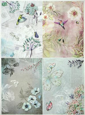 Rice Paper for Decoupage Decopatch Scrapbook Craft Sheet Vintage Gardens Small