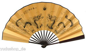 Kostüme & Verkleidungen Original Dekofächer Handfächer Mit Drache-motive Auf Seidenstoff Zu Den Ersten äHnlichen Produkten ZäHlen