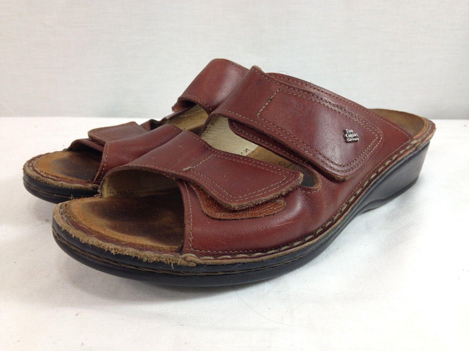 Finn Comfort 40 Sandales Schuhes Damenschuhe EU 40 Comfort US 9.5 Braun Leder Adjustable Germany cef6d8