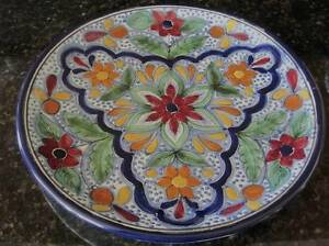 Image is loading Mexican-Talavera-Dinner-Plate -Poinsetta-Flower-Orange-Yellow- & Mexican Talavera Dinner Plate Poinsetta Flower Orange Yellow ...