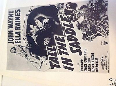 "/""Tall In The Saddle/"" John Wayne Movie Exhibitor/'s/' Manual Poster Ships Free!"