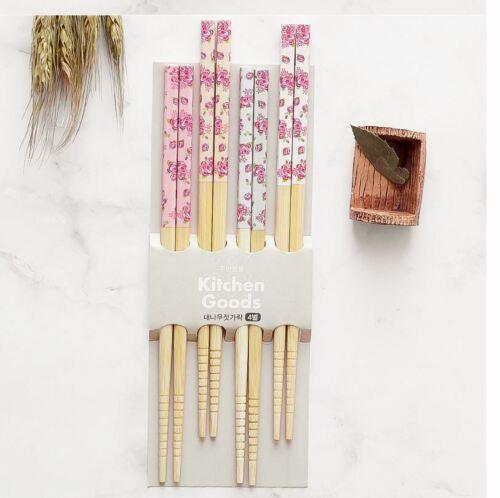 Wooden Reusable Color Floral Rose Geisha Korean Japanese Chopstick Sets