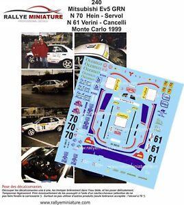 DECALS-1-43-REF-0240-MITSUBISHI-LANCER-VERINI-RALLYE-MONTE-CARLO-1999-WRC-RALLY