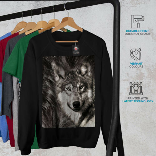 Wellcoda Loup solitaire Visage Femme Sweat-shirt Wild Casual Pullover Pull