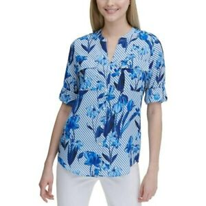 Calvin Klein Top Striped Floral Button-Down Blouse Blue Sz M NEW NWT 313