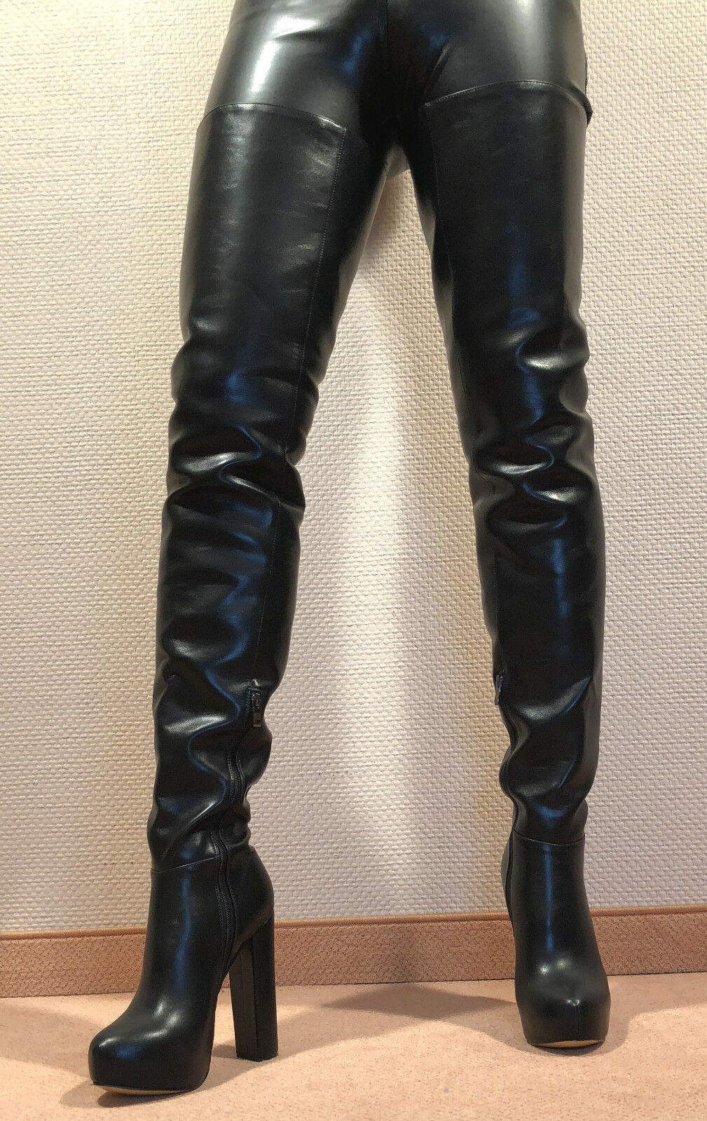 Gr.46 TOP ! Exklusiv Sexy Damen Schuhe Overknee Stiletto Stiefel Männer Boots D4