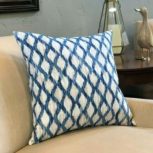 Blue Beige Decorative Throw Pillow Fast Shipping! whole - Made in USA