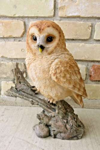 "12.5 "" TAWNY OWL FIGURINE ON TREE STUMP HOOTER STATUE WISE OLD OWL NEW"