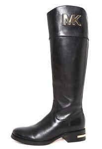 Black Leather Women Sz Michael 4 Kors Hayley M Tall Boots 5R4j3AScLq