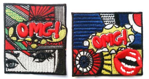 Pop Art OMG 3D Patch Embroidered Iron On Badge Cartoon Roy Lichtenstein