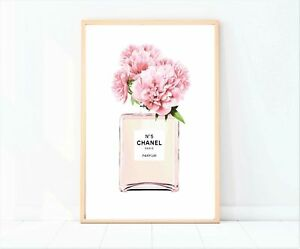 print/poster drawing painting coco chanel pink watercolour with floral deign