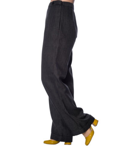 BANNED SECRETARY wide leg 40s style SWING HERRINGBONE TROUSERS XS-XL