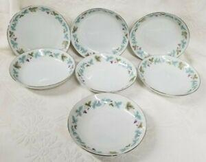7-VINTAGE-6701-Desert-Fruit-Bowls-Fine-China-Japan-Blue-Green-Grape-Leaf-Pattern